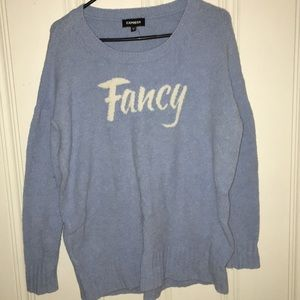 Sweater that says fancy